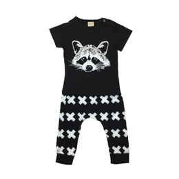 Wholesale Infant Fox Clothing - Wholesale- 2017 New unisex baby boy clothing set s infant cotton short-sleeved fox avatar T-shirt+pants newborn baby girl clothes