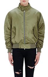 Армейский зеленый военный куртка онлайн-Клетчатая подкладка Kanye West Army Green MA1 бомбардировщик куртка ветровка военный стиль мужские плиссированные рукава хип-хоп пилот пальто