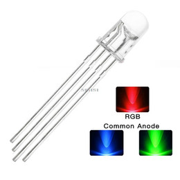 Wholesale cathode diode - DHL Free F5 5mm 4pins Red Green Blue RGB LED Common Cathode Tricolor Emitting Lights Diodes Round Water Clear Lamp