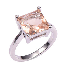 Wholesale morganite ring silver setting - Wholesale- Classic Style Morganite 925 Sterling Silver Wedding Party Fashion Design Romantic Ring Size 5 6 7 8 9 10 11 12 PR46