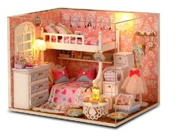 Wholesale Dolls House Lights - Hot Sale New Arrive1:12 Miniatura wooden doll house include furniture,Light,dust cover miniature dollhouse For Children Toys Gifts