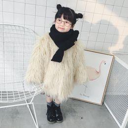 Wholesale Winter Fur Coats For Girls - Kids Coats Girls Fleece Long Sleeve Outwears Children Boats-Neck Faux Fur Coats for Kids Winter girls coats Fashion Kids clothing G1279