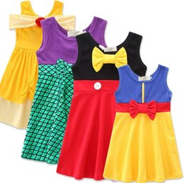 Wholesale Wholesale Mermaid Clothes - Mermaid Snow White Dresses Girls Belle Princess Dress Tulle Boutique Dress INS Cartoon Dress Sleeveless Dresses Baby Kids Clothing KKA2707