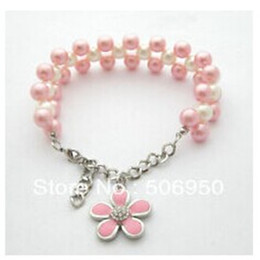 Wholesale Flower Cat Collars - wholesales!specialized handmade imitate pearl necklace for dogs cat pet collar flower pendant pink and blue color is available,10pcs lot