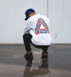 Wholesale Black Palace - 2017SS PALACE TRI-CRIB CREW COLORED TRIANGLE LOGO Round Collar Skateboards Hoodies Men Women Hip Hop Sweatshirt White Hombre