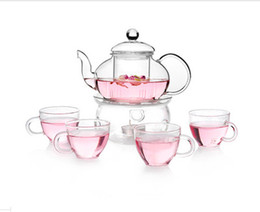 Wholesale Teapot Cup Sets - Free Shipping Glass Blooming Filter Tea Teapot With A Warm And 4 Tea Cups Tea Sets 600ml