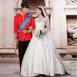 Wholesale Custom Made Alencon Lace Gown - 2016 princess wedding dress Luxurious Alencon Lace Very good bridal gown kate style wedding gown vestido de noiva
