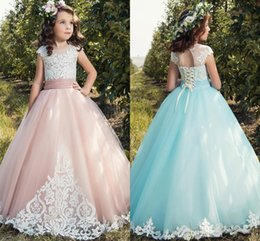 Wholesale New Models Girls Dress - 2017 New Princess Flower Girls Dresses Cap Sleeve Appliques Lace Up Back Long Pageant Party Gowns First Communion Dress For Child Teens