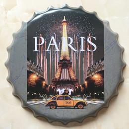 Wholesale Paris Paintings - Paris high quality embossed beer bottle cap design vintage Tin Sign Bar pub home Wall Decor Metal art Poster