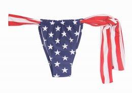 Wholesale Sexy Flag Bikini Bottoms - Sexy American Flag Hot Shorts Women Thong Separates Swimsuit Women Swimwear Bandage Bathing Suit Brazilian Tanga Bikini Bottom