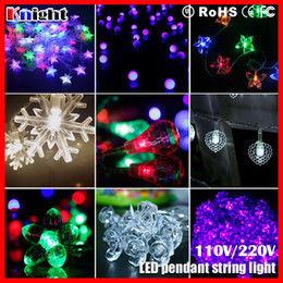 Wholesale Wholesale Frosted Christmas Tree - 10m 100led ornament string lamp,frosted bulb ball cherry rose heart star waterdrop snowflake holiday decor icicle pendant lights 2sets a lot