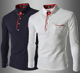 Wholesale Shirt Dress Fashion Polka Dot - Dress Shirts Men's Fashion Luxury Stylish Casual Designer Dress Polka Dot Shirt Muscle Fit Shirts