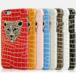 Wholesale Crystal Diamond Leather Case Iphone - Luxury Fashion Diamond Crystal Leopard Crocodile PU Leather Case Cover For iphone 6 6S Plus