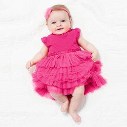 Wholesale Princess Ball Gown Dress Cake - Wholesale- Pretty Kids Baby Girls Cotton Dress Cake Layered Tutu Princess dresses 0-3Years Girl Casual