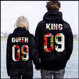Wholesale Men S Dress Hats - Autumn And Winter New Product QUEEN KING Men And Women Printing Hoodies Hat Long Sleeve Lovers Coats Sweatershirt Dress Pullover Sweater