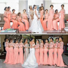 Wholesale Elastic Satin Mermaid Bridesmaid Dresses - Arabic African Coral Long Bridesmaid Dresses with Half Sleeves Plus Size Lace Mermaid Party Dress Beautiful Bridemaid Dresses