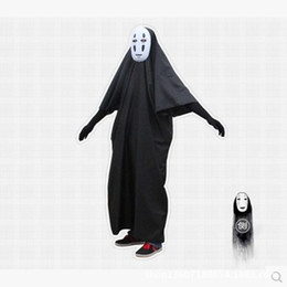 Wholesale Japanese Anime Kids Costume - Wholesale Spirited Away no face man cosplay costumes Japanese animation Children Anime Games Halloween Costume Unisex+Teenage