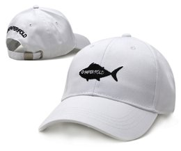 Wholesale Black Animated - 2016 New arrival Cute Cartoon Animated Fish Ball Cap Adjustable Summer Sports Outdoor Caps Man Woman The Black White Golf cap lFree Shipping