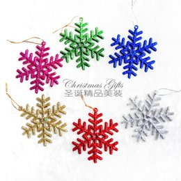 Wholesale Plastic Blue Snowflake Ornament - 6pcs lot Snowflakes Christmas tree Ornament Christmas decoration Soft Plastic Snowflakes hanging decoration 9*9cm Price Cheap + Good quality