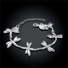 Wholesale Dragonfly Silver - Hot sale christmas gift 925 silver Dragonfly Bracelet DFMCH411, Brand new fashion 925 sterling silver Chain link bracelets high grade