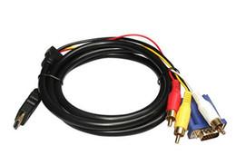 1.8 M 6FT HDMI Erkek VGA HDTV HD-15 HDMI 3 RCA Bileşen Dönüştürücü Ses Adaptörü Bilgisayar Kablosu HDTV 1080 P MYY1106 HDTV Için DVD nereden kablo vga hd 15 tedarikçiler