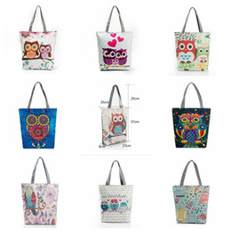 Wholesale Canvas Print Shop - Floral Owl Printed Canvas Tote Casual Beach Bags Large Capacity Women Single Shopping Bag Daily Use Canvas Handbags OOA2759