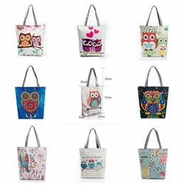Wholesale Cartoon Owl Handbag - Floral Owl Printed Canvas Tote Casual Beach Bags Large Capacity Women Single Shopping Bag Daily Use Canvas Handbags OOA2759