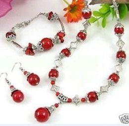 silbernes rotes korallenarmband tibet Rabatt New Fine Modeschmuck Set Tibet Silber Red Coral Halskette Armband Ohrring Perle Jade