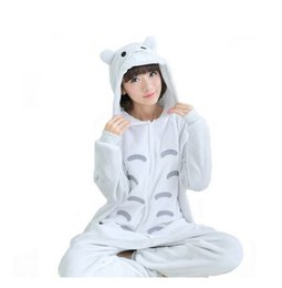 Wholesale Kigurumi Unisex Pyjamas Cosplay Costumes - Free DHL Adult Totoro Kigurumi Homewear Pajamas Cosplay Costume Women Men Hooded Sleepwear Jumpsuit Pyjamas Halloween Gift K63L