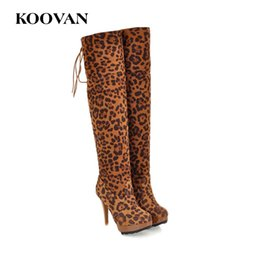 Wholesale Stretch Leopard Boots - Leopard Over Knee Boots 11 Cm High Heel Boots Fashion Perform Shoes 2017 Koovan Winter Autumn Velvet Inside Stretch Fabric W185