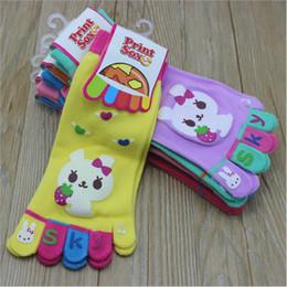 Wholesale Set Girl Kitty - Rabbit Hello Kitty Little Kids Five Fingers Baby Socks for Girls Boys 2017 Kids Toe Socks Children 5 Toes Socks 3 Pairs  set