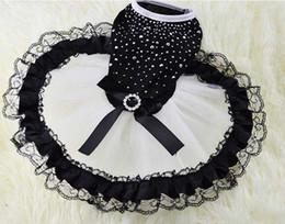 Wholesale Elegant Lace Diamond Wedding Dress - Small Medium Dog Elegant Black Lace Wedding Dress with Diamond Pet Dog Skirts Free Shipping DHL