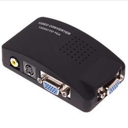 Wholesale Av Video Switch - New arrive PC Laptop Composite AV S Video To VGA TV Converter Monitor Adapter Switch Box