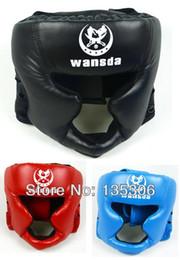 Wholesale Helmet Gear - Free shipping!Closed type boxing head guard Sparring helmet MMA Muay Thai kickboxing brace Head protection 1pc