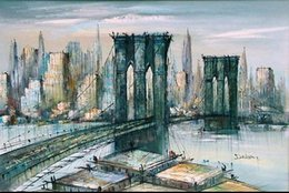 Wholesale New Century - Framed BROOKLYN BRIDGE NEW YORK CITY LARGE MID CENTURY MODERN PAINTING, Hand Painted Abstract Art Oil Painting On Thick canvas Multi sizes