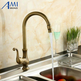 Wholesale Classic Deck Mounted Bathroom - Wholesale- 360 Swivel Kitchen Faucet Antique Brass Bathroom Basin Sink Mixer Tap Faucets