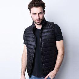 Wholesale Double Down Light - Duck Down Vest Men Ultra Light Double Sided Zipper Puff Gilet Casual Reversible Vests Jackets Sleeveless Waistcoat Jackets