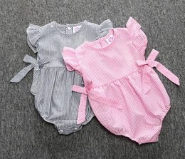 Wholesale Newborn Ruffle Rompers Wholesale - 2016 summer INS hot striped baby girl rompers ruffles sleeve bows Triangle babysuits Sleepsuit newborn infant romper open crotch 0 3M 6M 12M