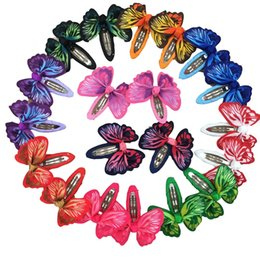 Wholesale Mixed Girl Babies - 20pcs 2inch Butterfly Hair Ribbon Bows with Clip Bows Baby Girls Bobby Hairpins Children Hair Accessories Free Shipping