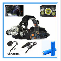 Wholesale Led Lamp Es - Drop shipping New Arrival 6000LM 3XCREE XM-L T6 LED Headlamp 4 Mode Head Torch Light Lamp+EU ES Charger Car charger+2x18650 battery