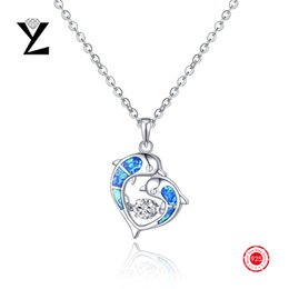 Wholesale Cz Blue Pendant - Special Offer!925 Sterling Silver Blue Fire Opal Pendant Fashion Jewelry with Cubic Zircon Dancing CZ Diamond Necklace for Women NP85430A