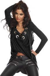Wholesale Cheap Fancy Tops - High street Loose Pullover Shirt New women Loose blusas Camisas Mujer Fancy Cheap Wine Black Grey Lace Up Long Sleeve Ruched 25738
