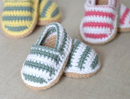 Wholesale Crochet Kids Shoe Patterns - 100% handmade CROCHET PATTERN Baby Espadrilles Cotton newborn Loafers stripe toddler shoes,spring kids walking floor shoes!12pairs 24pcs