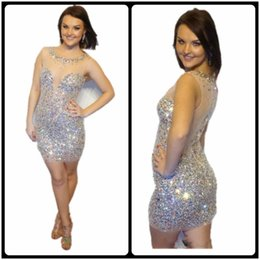 Wholesale Sequin Tank Dress - 2017 Shiny Short Prom Dresses Luxury Beaded Sequins Sexy Illusion Neck Straight Tank Sheer Short Cocktail Dress For Prom