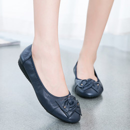 Wholesale Women Daily Work Dress - Spring Women Shoes With Flat Soft Bottom Fashion Bowtie Design Solid Big Size Female Work Daily Casual Shoes Free Shipping