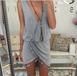 Wholesale Short Dress Fringes - 2016041017 Fringe Tassel Beach Dress Women plus size Loose dress Sexy Sleeveless V-Neck Women Summer Dress Robe Vestidos Women Clothes