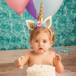Wholesale Band Halloween Costumes - Baby Party Headbands Unicorn for Halloween Christmas Party 2017 10 Colors Kids Hand Bands Cosplay Costume