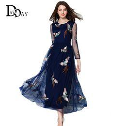 Wholesale Unique Work - New Arrival Long Summer Blue Dress Elegant O-Neck See through Sleeve Bird Embroidery Big Swing Maxi Dress Unique Design