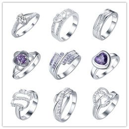Wholesale cheap hot plates - Mixed Style Zircon Rings 925 Silver fashion jewelry 7# 8# size top quality romantic Valentine's Day gift free shipping cheap hot 9pcs   lot
