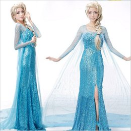 Wholesale Kids Cosplay Costumes Cheap - Cos Cheap Luxury Custom Made Frozen Elsa Princess Dress Cosutme Movie Cosplay Costume Sky Blue 5 Piece Adult Kid Children